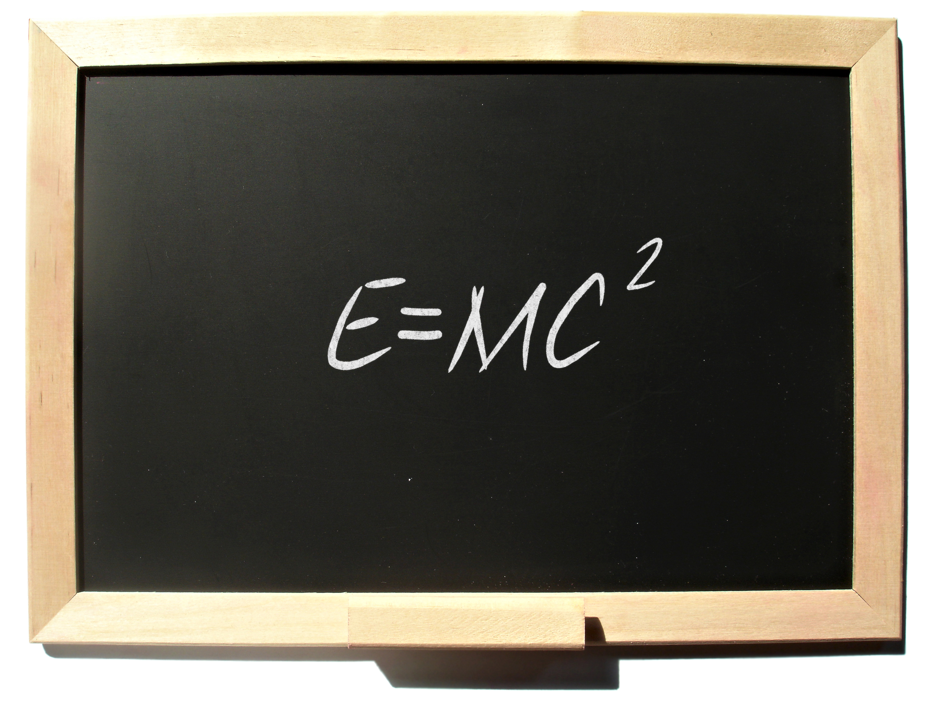 A picture of a chalkboard with E=MC2 written on it