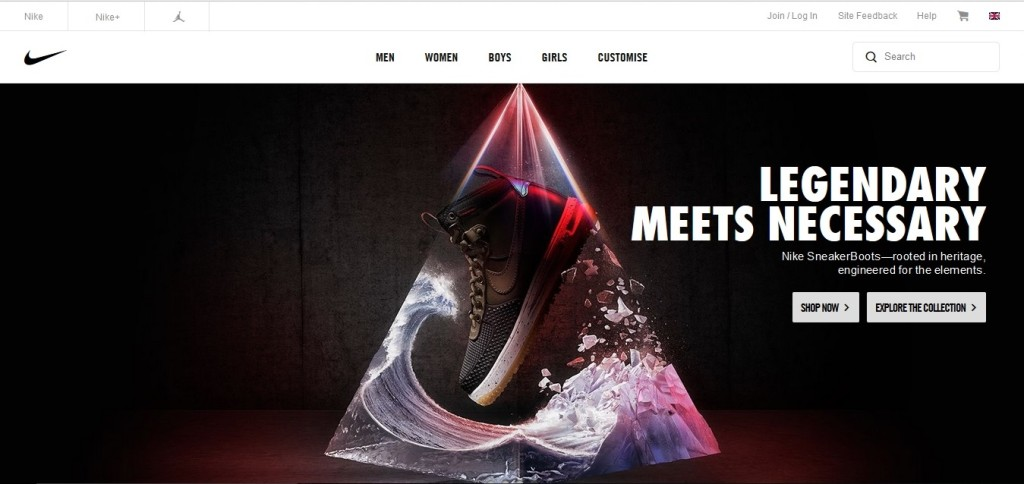 Story telling on Nike's home page